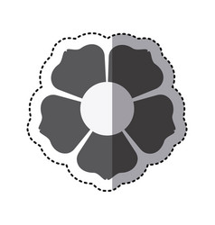 Contour flower with squre petals icon vector