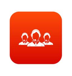 Customer support operators icon digital red vector