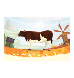 cute cow with milk river vector image