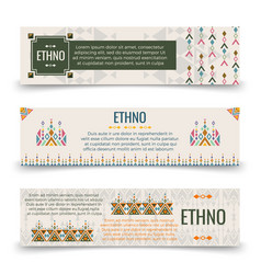 Ethno banners template with boho ornaments vector