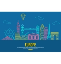 Europe travel background with place for text vector image vector image