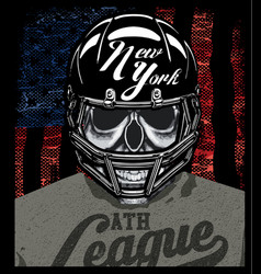 Football player skull t shirt graphic design vector