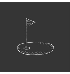Golf hole with flag drawn in chalk icon vector