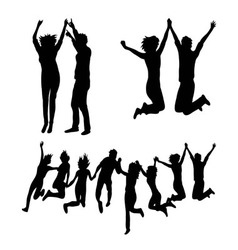 Happy Jumping Together Silhouettes vector image vector image
