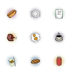 Junk food icons set pop-art style vector