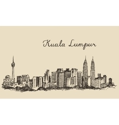 Kuala lumpur skyline engraved hand drawn sketch vector