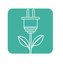 Label power cable plant with leaves vector
