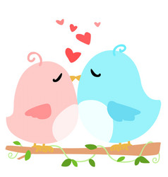 Love bird on branch white background vector