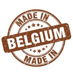 Made in belgium brown grunge round stamp vector