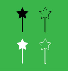magic wand icon black and white color set vector image vector image