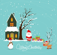 Merry christmas with santa claus snowman deer and vector image