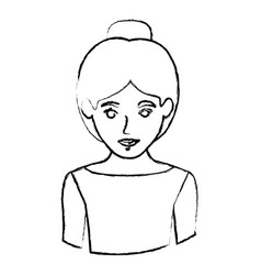 monochrome blurred contour with half body of vector image