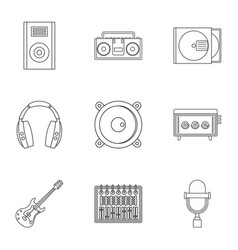 music recording icon set outline style vector image