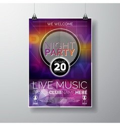 Night Party Flyer Design with copy space vector image vector image