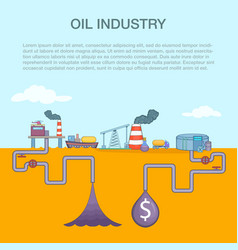 Oil industry cycle concept cartoon style vector