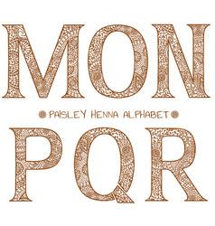 paisley henna alphabet mnopqr vector image vector image