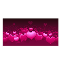 panoramic horizontal pink abstract valentines day vector image vector image