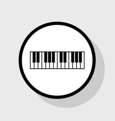 Piano keyboard sign flat black icon in vector