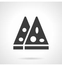 Pizza slices glyph style icon vector