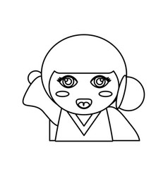 Portrait kokeshi doll outline vector