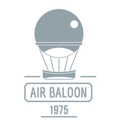 retro air balloon logo simple gray style vector image vector image