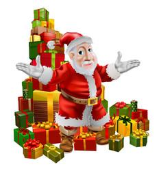 santa and christmas gifts vector image vector image