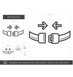 Seat belt line icon vector
