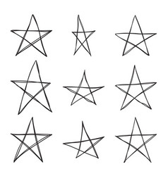 Set hand drawn star vector