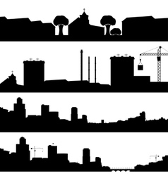 Set of silhouettes cityscapes vector