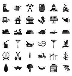shovel icons set simple style vector image vector image