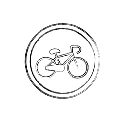 Silhouette blurred with bicycle icon vector