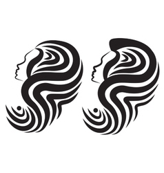 Silhouette of a womans head with a hairstyle vector image vector image
