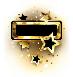 small banner with golden stars vector image vector image