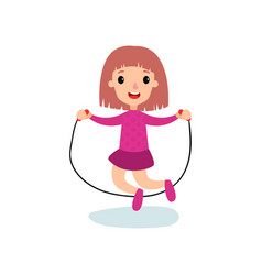 smiling little girl character jumping with rope vector image