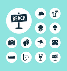Summer icons set with fresh juice swimming mask vector