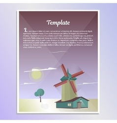 Template brochure landscape with windmill vector image