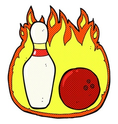 ten pin bowling comic cartoon symbol with fire vector image vector image
