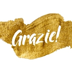 Thank You Italian Language White Letters Gold Foil vector image