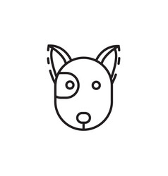 Thin line dog head icon vector