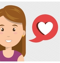 Woman heart love app vector