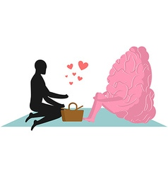 Brain at picnic date in park mind and eople rural vector