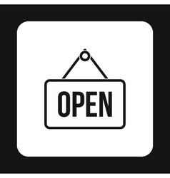 Open sign icon simple style vector