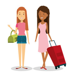 Persons with suitcase travel vector