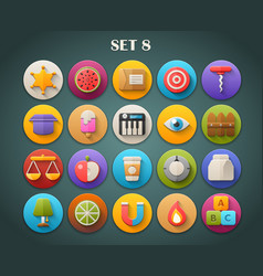 Round bright icons with long shadow set 8 vector