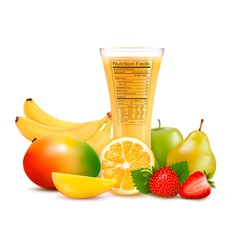 Fresh fruit and a glass of juice with a nutrition vector