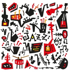 Jazz instruments - doodles set vector