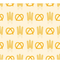 Pretzel and wheat pattern vector