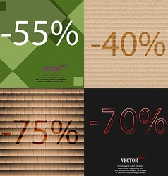 40 75 70 icon set of percent discount on abstract vector
