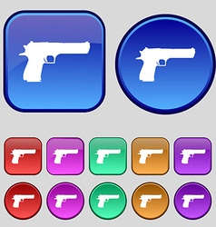 Gun icon sign a set of twelve vintage buttons for vector