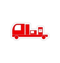 Icon sticker realistic design on paper truck vector